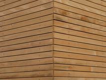 Wood façade. Background texture of finely slatted natural brown wood in a parallel pattern used in building decor and construction stock photos