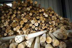 Wood fabriks- rörande trä Arkivbild