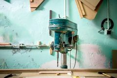 Wood factory with industrial drilling and milling tool. Old furn Royalty Free Stock Images