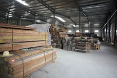 Wood in factory warehouse Royalty Free Stock Image