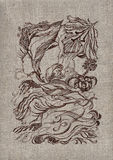 Wood fairy tale, pattern on a canvas. Wood fairy tale, pattern on the ancient Ukrainian homespun rural linen canvas of manual job vector illustration