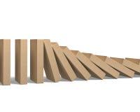 Wood falla för domino Arkivbild
