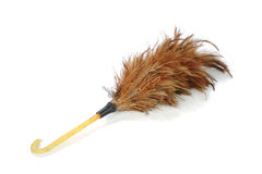 Wood Feather Cleaner Brush on  White Background Stock Photography