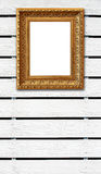 Wood fence background with vintage photo frame Royalty Free Stock Photo