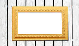 Wood fence background with yellow photo frame Stock Image