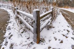 Wood Fence Corner with Freshly Fallen Snow stock images