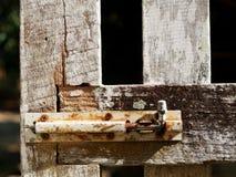 Wood fence door Stock Photo