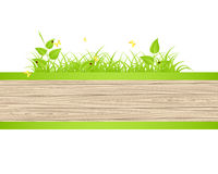 Wood fence  with grass Royalty Free Stock Images