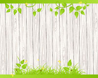 Wood fence  with grass Royalty Free Stock Image
