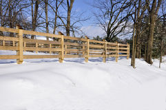 Wood fence in winter Royalty Free Stock Image