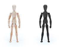 Wood figure mannequin - black and white Stock Images