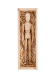 Wood figure mannequin in a wooden box Stock Photos
