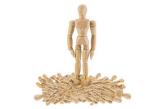 Wood figure tread on other Stock Photo
