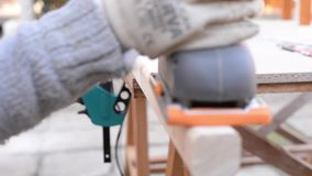 Wood finishing stock video footage