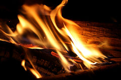 Wood on fire Royalty Free Stock Photos