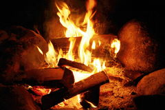 Wood in Fire Stock Photography