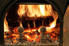 Wood fire. Fire in wood stove Stock Photography