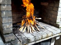 Wood fire for barbecue Royalty Free Stock Photography