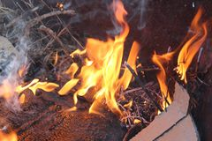 Paper And branched Flame smoke royalty free stock photo
