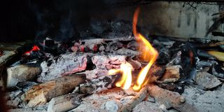 Wood on Fire. Burning of Wood and Open Fire and sound of burning stock image