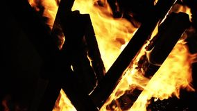 Wood Fire in the Dark Stock Photo