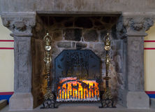 Embers in fireplace Royalty Free Stock Images