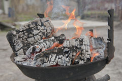 Wood fire in grill Stock Images