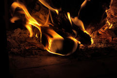 Wood in fire 1. Heat the fireplace on a cold winter evening Royalty Free Stock Images