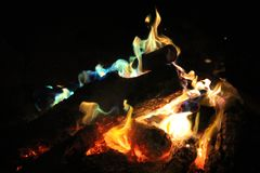 Wood Fire at Night royalty free stock images