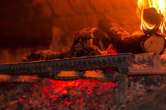 Wood Fire in the Oven Royalty Free Stock Images