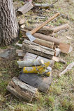 Wood for fire. Photography of cleaved wood and axe, prepard for fire Stock Image