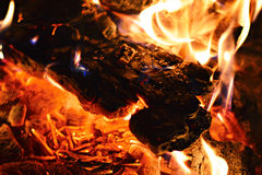 Wood in the fire Royalty Free Stock Image