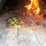 Wood fired pizza Royalty Free Stock Photography