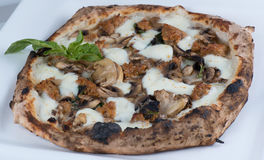 Wood Fired Sausage and Mushrooms Pizza Royalty Free Stock Photos