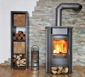 Wood fired stove. With fire-wood, fire-irons, and briquettes from bark Stock Photo