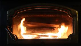Wood Fireplace Burning HD Video stock video footage