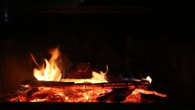 Wood Fireplace Burning HD Video stock footage