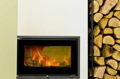 Wood fireplace insert Stock Image