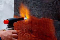 Wood firing using the old Japanese method stock photography