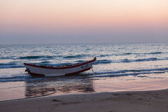 Wood Fishing Boat Beach  Royalty Free Stock Photos