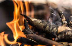 Wood flame smoke stock photography