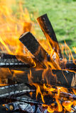Wood in flames Royalty Free Stock Images