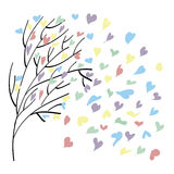 With wood flies leaves. In the form of colorful hearts on Valentine's Day Stock Photos