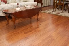 Wood floor. Interior of living room with dark hardwood floor Stock Photo