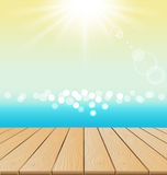 Wood Floor On Beach And sun shine for summer Stock Photography