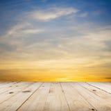 Wood floor and beautiful sunset Royalty Free Stock Photos