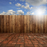 Wood floor and blue sky for background Stock Image
