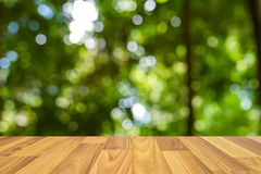 Wood floor with blur tree background Royalty Free Stock Image