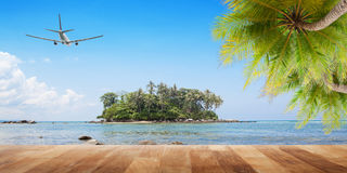 Wood floor with coconut palm trees on tropical island and airpla. Ne,concept summer and travel background Royalty Free Stock Image