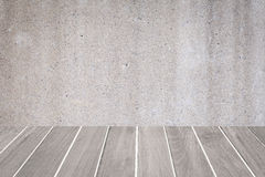 Wood floor and concrete wall texture Stock Images